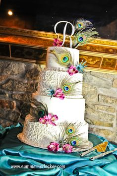 #wedding, #cake, #peacock, #feathers