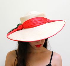 Vintage Wide Brim Sun Hat  Mid Century 1950s Red by MaejeanVINTAGE, $32.00