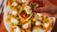 Loaded Zucchini Skins horizontal