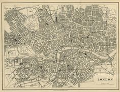 London map (19th century), scanned version of an old original map of London, instant download in high resolution jpg -- item no 62