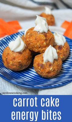 These carrot cake energy bites are incredibly quick and easy to make with the flavors of carrot cake in a healthy, bite-sized treat. Such a tasty treat! Appetizer Recipes, Soup Recipes, Vegetarian Recipes, Snack Recipes, Dessert Recipes, Cooking Recipes, Healthy Recipes, Recipes Dinner, Potato Recipes