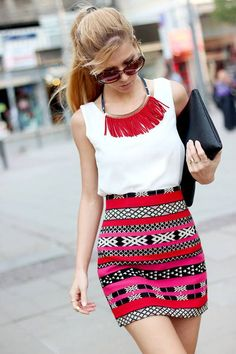 Simple white tank with a highwaist, printed skirt and the statement necklace to end all necklaces