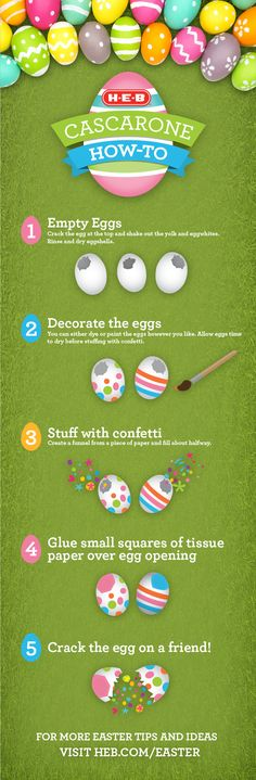 Release the confetti on your Easter guests with our 5 step guide to making Cascarones (confetti filled eggs). Find even more Easter celebration ideas at heb.com/easter.