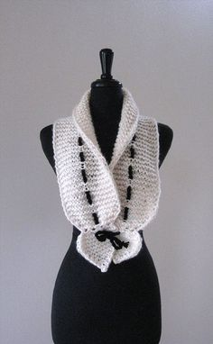 Cream Off White Color Knitted Scarf Collar Necklet Scarflette with Black Cord