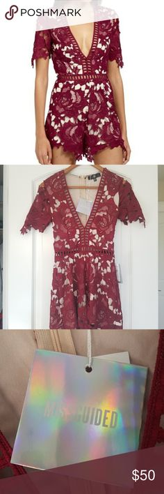 NWT Missguided Lace Romper Gorgeous Nude and Maroon ladder stitched lace romper. Size two, but will likely fit XS. Missguided Other