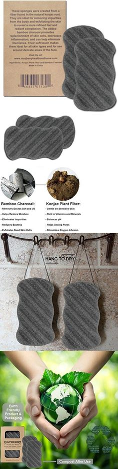Bath Brushes and Sponges: Konjac Exfoliating Sponge Bamboo Charcoal 2 Pack 100% Natural Full Body Sponge -> BUY IT NOW ONLY: $36.59 on eBay!