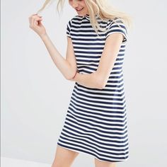 ASOS A-Line Shift Dress With High Neck In Stripe Never worn and with tags! Just a little short on me! ASOS Dresses Mini