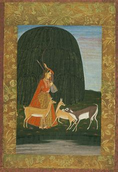 Todi Ragini: a girl playing the vina to a male and two female (?) antelopes Allegory of the power of love