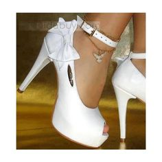 Buy Fashionable White PU Peep Toe Lovely Bowtie High Heel Wedding Shoes at Wish - Shopping Made Fun Sexy High Heels, High Heels For Prom, Prom Heels, High Shoes, Pretty Shoes, Cute Shoes, Me Too Shoes, Beautiful Shoes, Wedding Shoes Heels