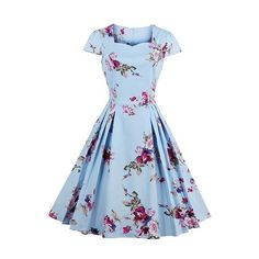 Blue Cap Sleeve Flower Print A Line Dress ($36) ❤ liked on Polyvore featuring dresses, blue, long-sleeve floral dresses, vintage mini dress, floral dresses, a line dress and flower print dress