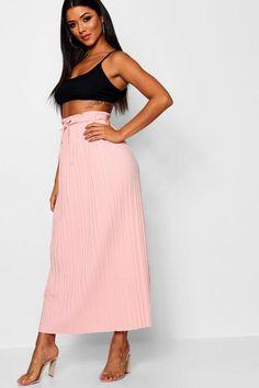 1b3fefff6 Tie Waist Pleated Midaxi Skirt - boohoo, skirt, how to wear a skirt,