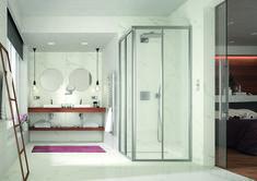 Badeinrichtung in schlichtem weiß mit einer PALME® Dusche. Oversized Mirror, Closet, Furniture, Home Decor, Bath Room, Bedroom, Floor Design, Showers, Wall Design