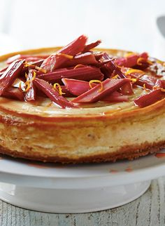 It's Spring, which means rhubarb is in season! Make the most out of  this beautiful fruit by making this delicious Rhubarb and Ginger Baked Cheesecake.
