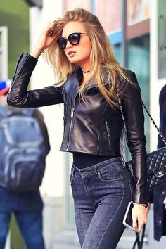 Romee Strijd out in New York #leathercroppedjacket #leatherjacket