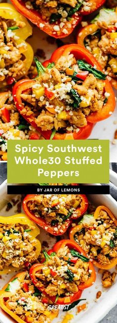 Your favorite recipe source for healthy food [Paleo, Vegan, Gluten free] Whole 30 Stuffed Peppers, Southwest Stuffed Peppers, Stuffed Peppers Healthy, Veggie Recipes, Healthy Dinner Recipes, Cooking Recipes, Healthy Dinners, Healthy Options, Nutritious Meals