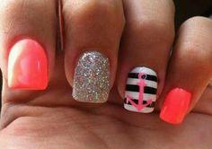 Pretty sailors nail design. I wish I could do my nails like this!!