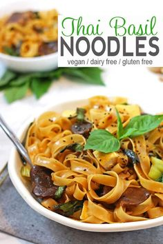 These Thai Basil Noodles are perfect if you're craving some bold flavor for dinner. The recipe is easy to make & ready in about 30 minutes. Perfect for a gluten-free dinner. vegan Thai recipe, Thai noodle recipe, gluten-free noodles #asiannoodles #thainoodles #thaibasil #vegannoodles