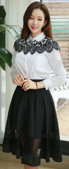 StyleOnme_Mesh Detail Knee-length Flared Skirt #classy #elegant #mesh #black #flared #skirt #koreanfashion #feminine #kfashion #kstyle #seoul #blackandwhite
