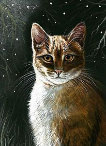Ginger cat night watchman limited edition print of painting anne marsh art