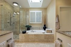 Lovely #Bathroom #Design With White Bathtub Combine With Beige Stone Floor Visit http://www.suomenlvis.fi/