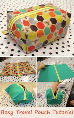 Boxy Travel Pouch Tutorial. How to sew free tutorial for beginners. Ideas for sewing projects. Step by step illustration.   #pouch #sewing #bags #tutorial #sew #free #pattern #diy #ideas #sewing #stepbystep #howto Bag Patterns To Sew, Pouch Pattern, Pattern Sewing, Sewing Paterns, Free Pattern, Sewing Patterns Free, Diy Sewing Projects, Sewing Tutorials, Sewing Tips