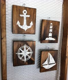 Rustic Nautical  Set of 4   Anchor Lighthouse Compass and