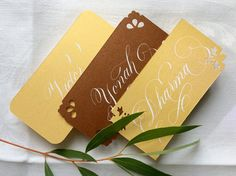1 Calligraphy Place Card, Mellow Gold or Copper Colored, White Ink, Ornamental Corners Optional, Perfect for Christmas, Wedding, Birthday by Federflug