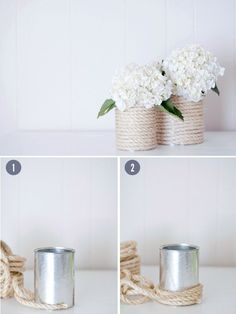 Rope-Wrapped Vases /  37 Things To DIY Instead Of Buy For Your Wedding (via BuzzFeed)