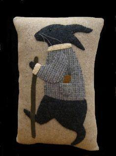 Primitive Wool Applique Rabbit Pillow