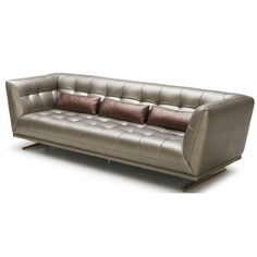 "The Rajah is our new luxurious sofa covered in a full soft leather.  The feet come in gold stainless steel.  The high sides of the oversized sofa give it a grand appearance.  Sofa will be coming in black full leather, but can be custom ordered in various colors and grades of leather.  Looks great with matching love seat and chair.  98""x 41""x 32"