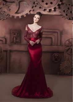 Chic Lace & Stretch Satin V-neck Neckline Floor-length Sheath Prom Dress