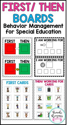 First/ Then Boards for Special Education students. Great to use with students that have Autism. student First/ Then and I'm Working for Boards for Special Education Classroom Behavior Management, Student Behavior, Behaviour Management, Classroom Behavior System, Behavior Contract, Classroom Helpers, Autism Classroom, Special Education Classroom, Art Education