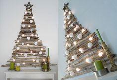 Christmas tree wall art made out of sticks
