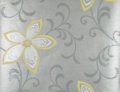 Modern Flower Wallpaper Yellow Silver Grey Floral Wallpaper CHR11632   eBay