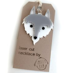 Gorgeous wolf laser cut acrylic necklace