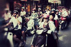 Motorbike rush hour in Hanoi
