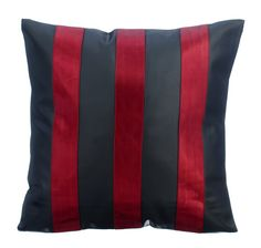 Alternating Red - Metallic Red Faux Leather Pillow. Ideal for when you're decorating with stripes or trying out new romantic red bedroom decor ideas.
