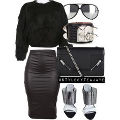 A fashion look from September 2015 by stylebyteajaye featuring Giuseppe Zanotti, Yves Saint Laurent, Porsche and Hermès