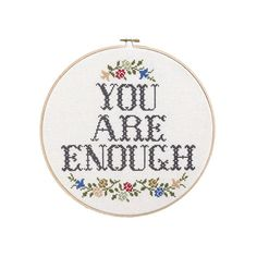 You Are Enough Large Modern Cross Stitch Pattern PDF Only