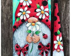 Christmas Rock, Christmas Gnome, Christmas Crafts, Gnome Paint, Happy Paintings, Easter Paintings, Folk, Diy Painting, Spring Painting