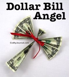 Another idea for giving money for Christmas Dollar Bill Angel. Another idea for giving money for Christmas Dollar Bill Origami, Money Origami, Origami Paper, Origami Boxes, Origami Ball, Dollar Bills, Fold Dollar Bill, Origami Folding, Paper Folding