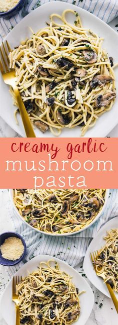 This Creamy Garlic Mushroom Pasta is done in just 30 minutes! It's absolutely mouthwatering, so easy to make, and makes tons of servings! via https://jessicainthekitchen.com