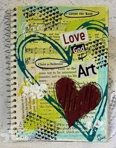 Beginning art journaling - create a cover of an art journal for craft night