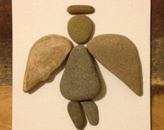 Pebble Art/ Canvas Art/ Multi Media Collage/ Beach Stones/ Guardian Angel