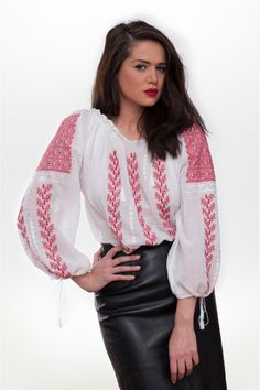 Ie traditionala roamneasca cu maneca lunga RL0229 Bell Sleeves, Bell Sleeve Top, Leather Skirt, Costume, Skirts, Tops, Women, Fashion, Moda
