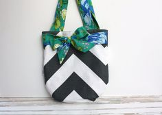 Mixed Bag Chevron Tote Bag Emerald Green Floral Bow by AppleWhite, $40.00