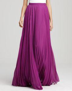Vibrant violet pleated maxi skirt