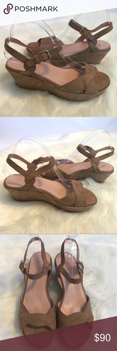 "STUART WEITZMAN Platform Wedge Suede Sandal Very good used condition - soles are in excellent shape. Slight wrinkle in the crease of front toe area as seen in pic. See pics carefully for some areas of wear on suede. Made in Spain  Approximate measurements: 3"" platform (back) 1.5"" platform (front) 10"" total length of inner sole Stuart Weitzman Shoes"
