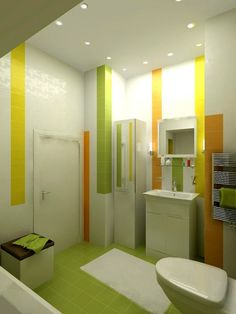 salle de bain blanche avec accents en carrelage vert, jaune et orange