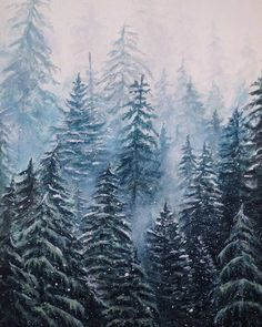 An expansive #forest #painting by Maria Johnston (@mariajohnstonartist) depicts a dense copse of trees climbing up a hill giving the illusion that the trees  form an evergreen wall shrouded in mist and fine crystals of ice.  Flakes of snow fall in gentle drifts onto sturdy yet flexible branches of spruce and pine. Maria did a wonderful job depicting the snow gathered onto the trees the corridors between the towering wood obscured in a billowing wintery fog and the ever-increasing haziness…